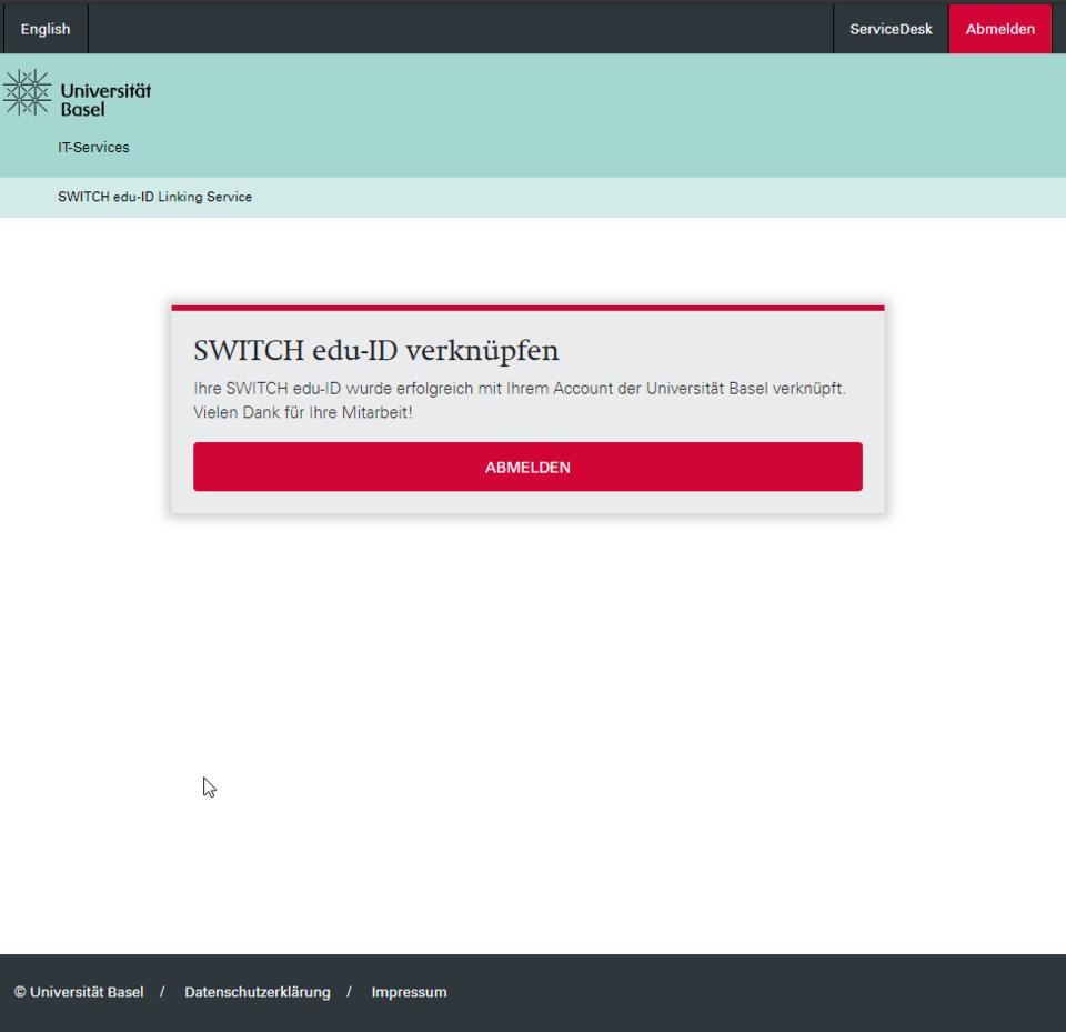SWITCH edu-ID verlinkt
