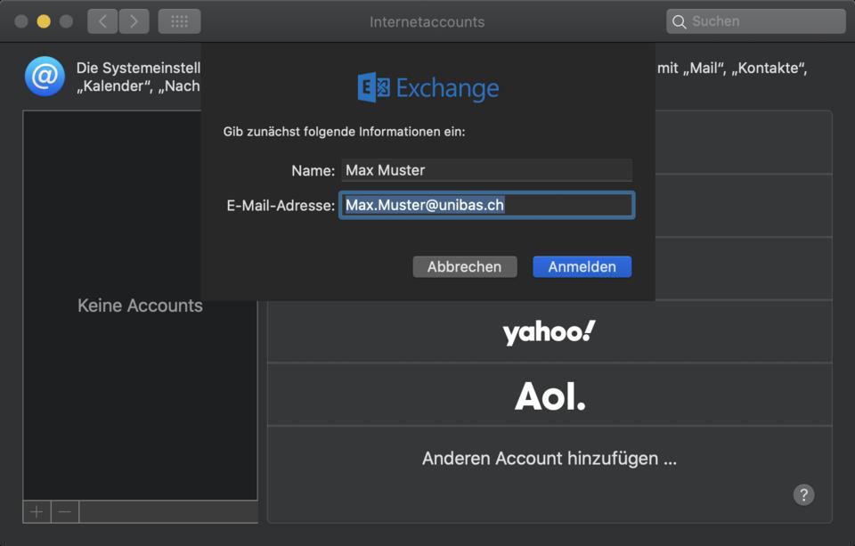 Exchange (Anmeldung mit Unibas E-mail)